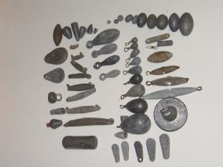 VERY OLD VINTAGE LEAD FISHING WEIGHTS SINKERS 57 DIFFERENT FROM EACH