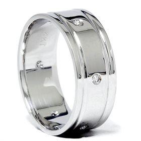 Mens 14kt Wide 8mm Diamond Ring Comfort Fit Wedding Band Solid 14k