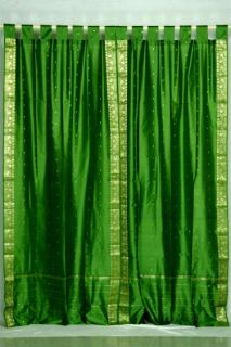 Indo Forest Green Tab Top Sari Sheer Curtain (43 in. x 84 in.)