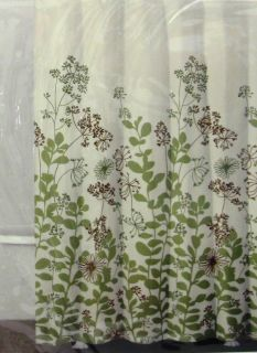 Fabric Shower Curtain Border Print Enchanted Forest Green New