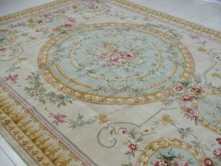 Knotted Thick and Plush French Savonnerie Green Gold Blue Area Rug