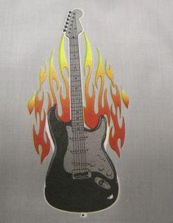 Gray Black Flaming Guitar Retro Bowling Shirt Dress Hip