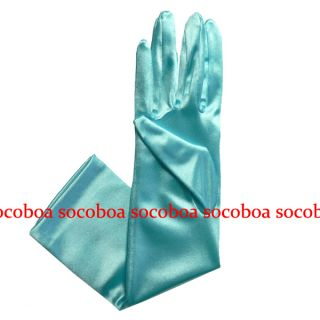 Blue Elbow Length Satin Bridal Opera Gloves Formal Dance Prom