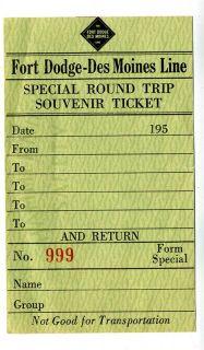 Fort Dodge Des Moines Line Railroad Special Round Trip Souvenir Ticket