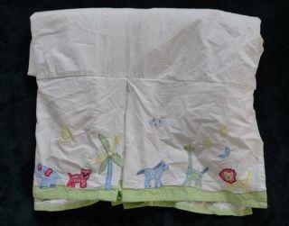 Pottery Barn Kids Jungle Safari Animals Green Blue Crib Skirt Dust