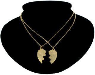 Necklace Bff Set Best Friends Broken Heart 2 Piece Gold Plated