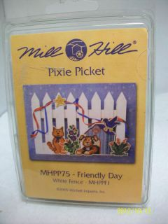 Mill Hill Pixie Picket Kit Friendly Day Cat Dog Counted Beaded Kit