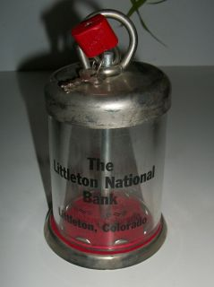 Vintage Littleton National Bank Littleton Colorado Glass Bank w Lock