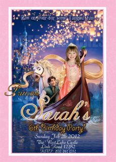 Tangled Rapunzel Birthday Invitations Personalized Custom Photo Card
