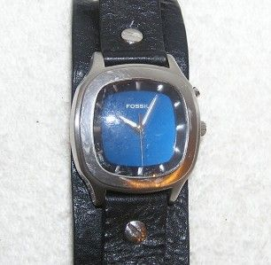 Mens Fossil Big Tic Stainless Steel Watch Black Leather Band Water