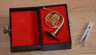 Miniature 4 French Horn Gold Velvet Lined Black Case Great Gift Mint