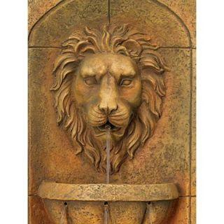 Lions Head Faux Stone Indoor Outdoor Garden Wall 3 Tier Illuminated