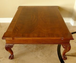 Ethan Allen 18 Century Ball Claw Mahogany Coffee Table