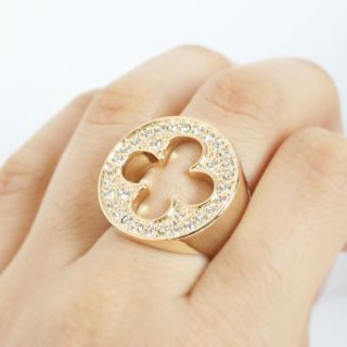 lucky charm four leaf clover crystals reversible ring size7