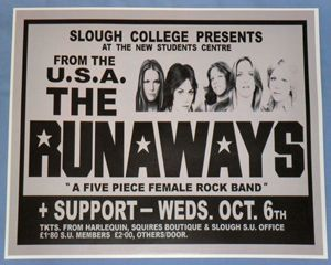 The Runaways Concert Poster   Slough College   1st UK Tour (Joan Jett)