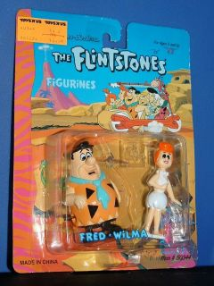 Flintstones FRED & WILMA Windup Action Figure c.1992 Hanna Barbera