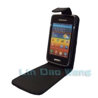 Black Flip Leather Case Cover Pouch Film for Samsung Wave Y S5380