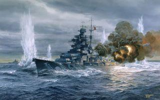 Bismarck Tom Freeman Artist Proof Engaging HMS Hood Denmark Strait