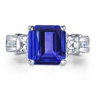 4ct Emerald Cut Tanzanite 1ct Diamond Ring 18K Gold Sz3 13 Freeshpi