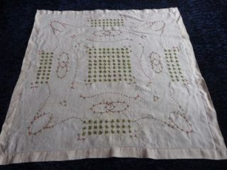 Antique French Handembroidered Linen Tea Table Cloth 4 Napkins w Roses