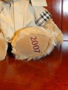 Burberry Fragrances Teddy Bear Jacket Coat Tan Brown Plush Stuffed