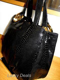 Michael Kors Fulton E w Tote Handbag Bag Python Black