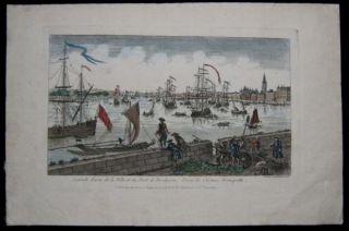 1770 Antique Leizelt Print View Port of Bordeaux France