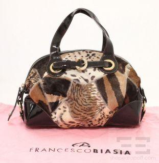Francesco Biasia Brown Animal Print Pony Hair Patent Trim Handbag