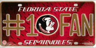 Florida State Seminoles NCAA #1 Fan Aluminum Metal License Plate 6x12