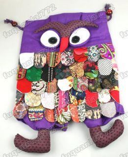 Distinctive Cute Owl Children Handmade Backpack Purple