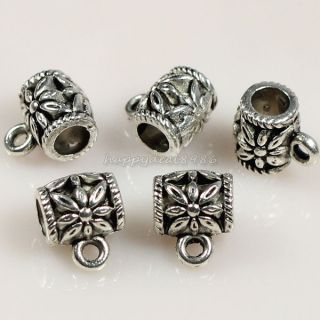 100pcs Tibetan Silver Tone Flower Cup Connectors Bails Jewelry