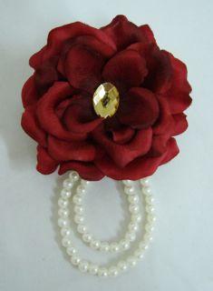 Red Rose Silk Flower Hair Clip Pin Brooch