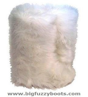 Wuffies© White Faux Fur Boots Fuzzy Fluffy Big Fur Boots Sz 5