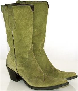 Franco Sarto Green Suede Leather Calf Cowboy Boots 6 5