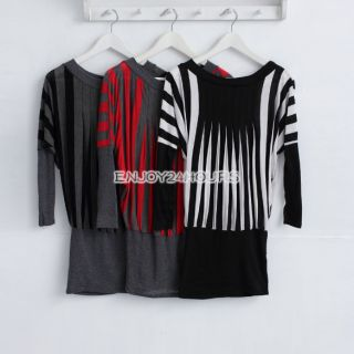 EN24 Women Long Cool Straight Strip Blouse Shirt Tops Mini Dress 3