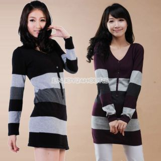 Fashion New Women Girl Stripe Button V Neck Long Sleeves Knit Sweater