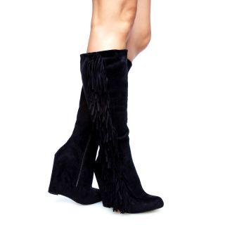 Sleek Chic Suede Fringe Covered Wedge Heel Knee High Boots Black Fab w