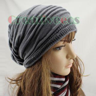 Womens Folds Slouchy Beanies Winter Fall Wool Knit Baggy Hat Skull Ski
