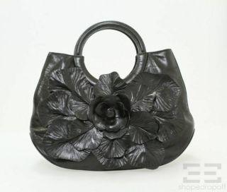 Anne Fontaine Black Leather Flower Framed Handle Handbag