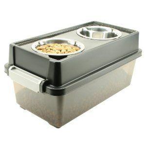 Pet Food Storage and Server Dog Water Bowl Medium Double Bowls Feeder