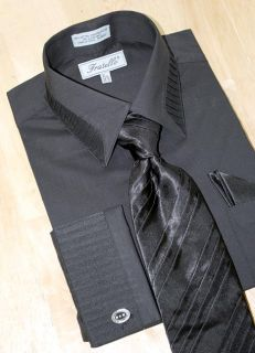 Fratello Black Pleated Collar Shirt Tie Hanky Set 2XL