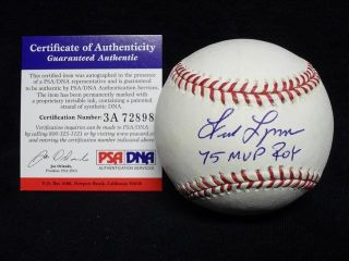 Fred Lynn Signed Auto Autograph Baseball Ball PSA DNA 1975 MVP Roy