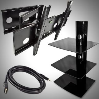 TV Wall Mount Full Motion Tilt Swivel Arm 32 60 3 Tier DVD Stand HDMI