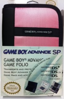 Nintendo Game boy SP Pink Folio Case for System Games & Accessories