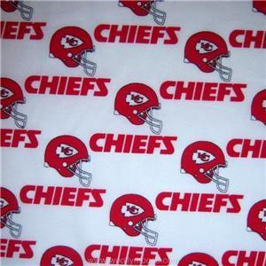 NFL Kansas City CHIEFS 60 Licensed FOOTBALL Red Helmet Fabric 1/2 YD