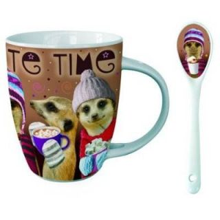 This fun hot chocolate Mug & Spoon Gift set is perfect for any Meerkat