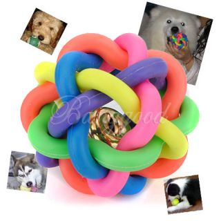 Puppy Cat Pet Rainbow Colorful Rubber Sound Ball Bell Fun Playing Toys