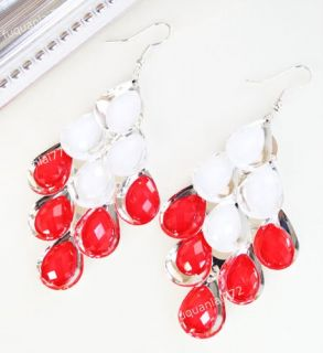 Pair Lovely Party Red Faceted Crystal Alloy Earring Red