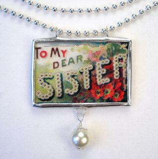 To My Dear Sister Reversible Vintage Postcard Necklace