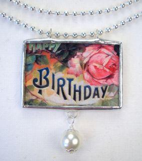 Happy Birthday Cottage Rose Vintage Postcard Necklace